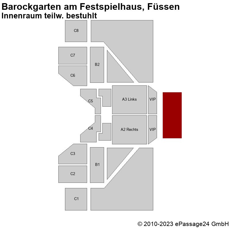 Saalplan Barockgarten am Festspielhaus, Füssen, Deutschland, Innenraum teilw. bestuhlt