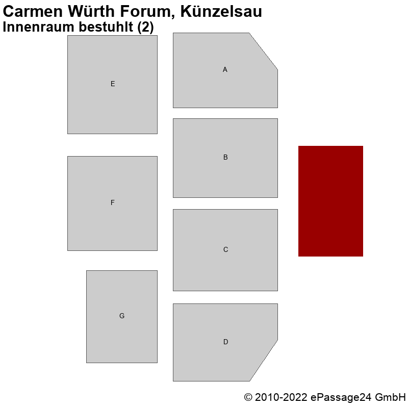 Saalplan Carmen Würth Forum, Künzelsau, Deutschland, Innenraum bestuhlt (2)