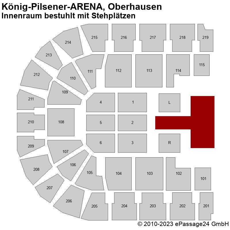 Saalplan König-Pilsener-ARENA, Oberhausen, Deutschland, Innenraum bestuhlt mit Stehplätzen