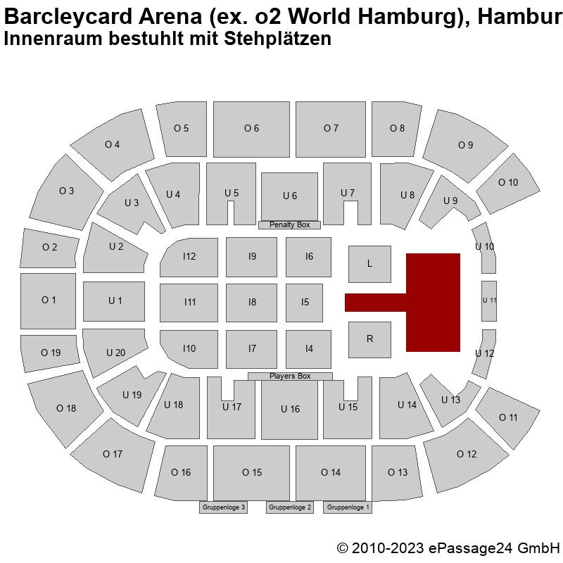 Saalplan Barcleycard Arena (ex. o2 World Hamburg), Hamburg, Deutschland, Innenraum bestuhlt mit Stehplätzen