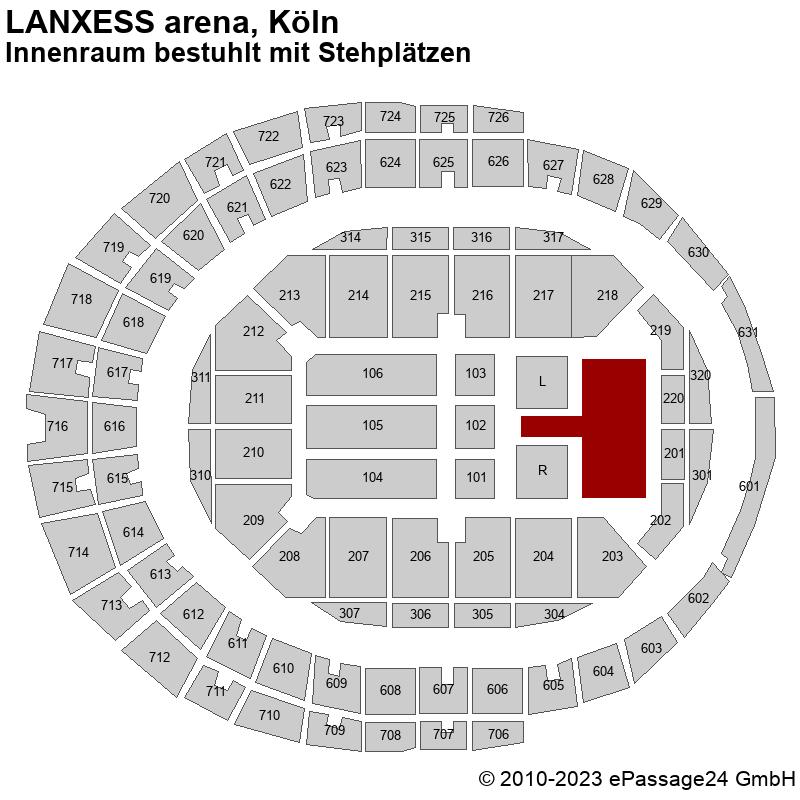 Saalplan LANXESS arena, Köln, Deutschland, Innenraum bestuhlt mit Stehplätzen