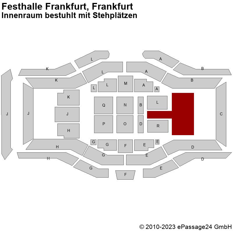 Saalplan Festhalle Frankfurt, Frankfurt, Deutschland, Innenraum bestuhlt mit Stehplätzen