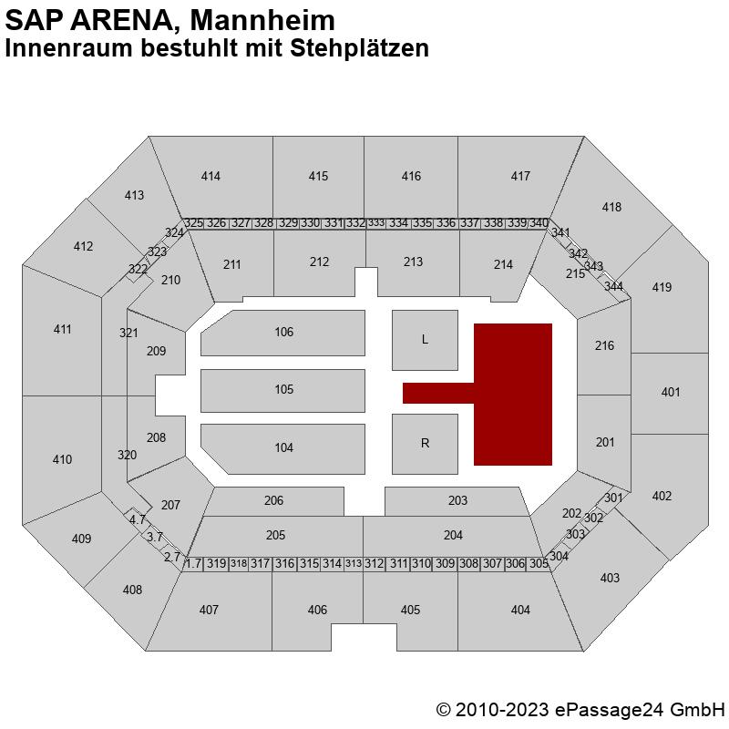 Saalplan SAP ARENA, Mannheim, Deutschland, Innenraum bestuhlt mit Stehplätzen