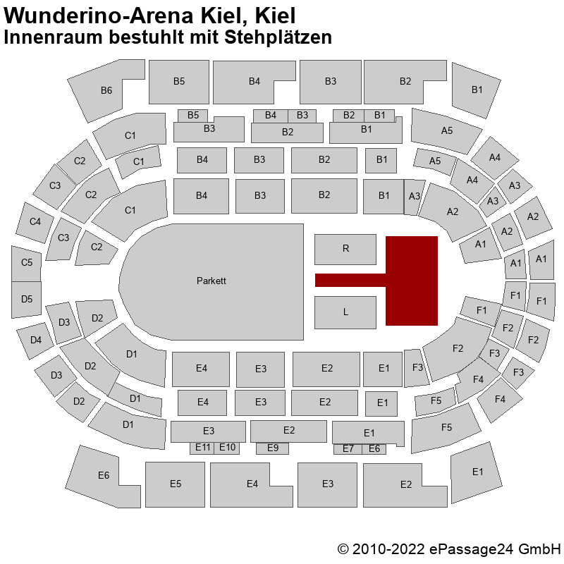 Saalplan Wunderino-Arena Kiel, Kiel, Deutschland, Innenraum bestuhlt mit Stehplätzen