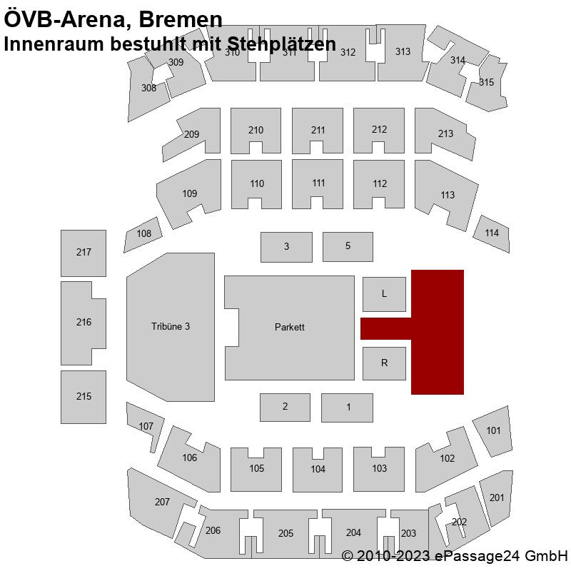 Saalplan ÖVB-Arena, Bremen, Deutschland, Innenraum bestuhlt mit Stehplätzen