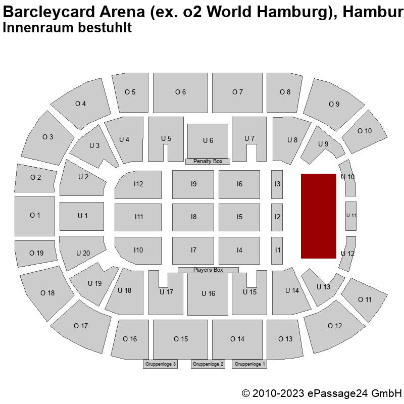 Saalplan Barcleycard Arena (ex. o2 World Hamburg), Hamburg, Deutschland, Innenraum bestuhlt