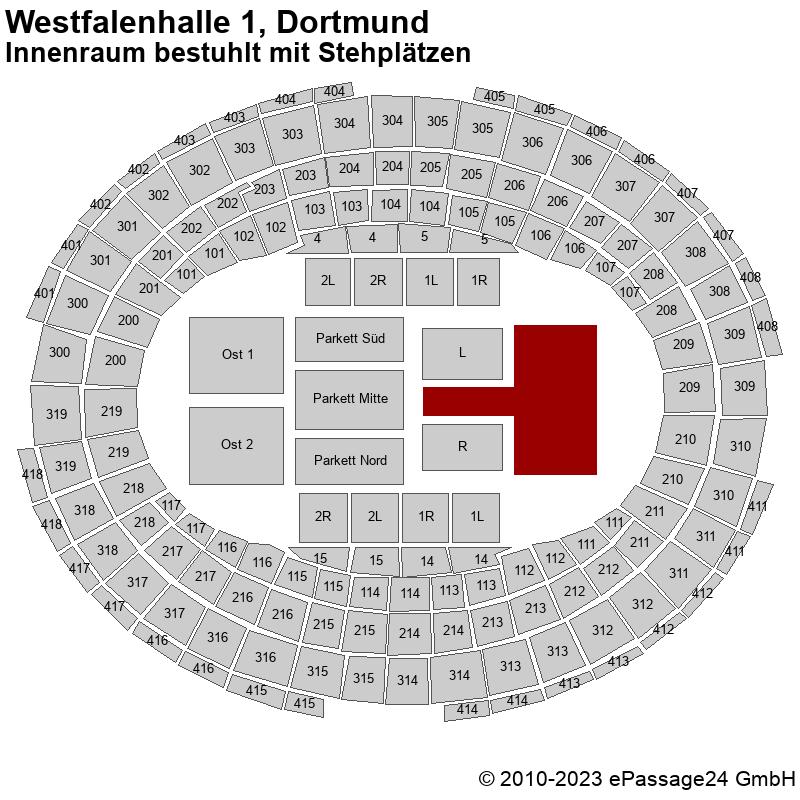 Saalplan Westfalenhalle 1, Dortmund, Deutschland, Innenraum bestuhlt mit Stehplätzen
