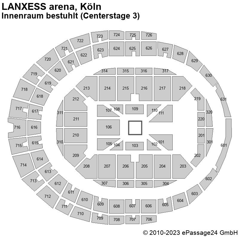 Saalplan LANXESS arena, Köln, Deutschland, Innenraum bestuhlt (Centerstage 3)
