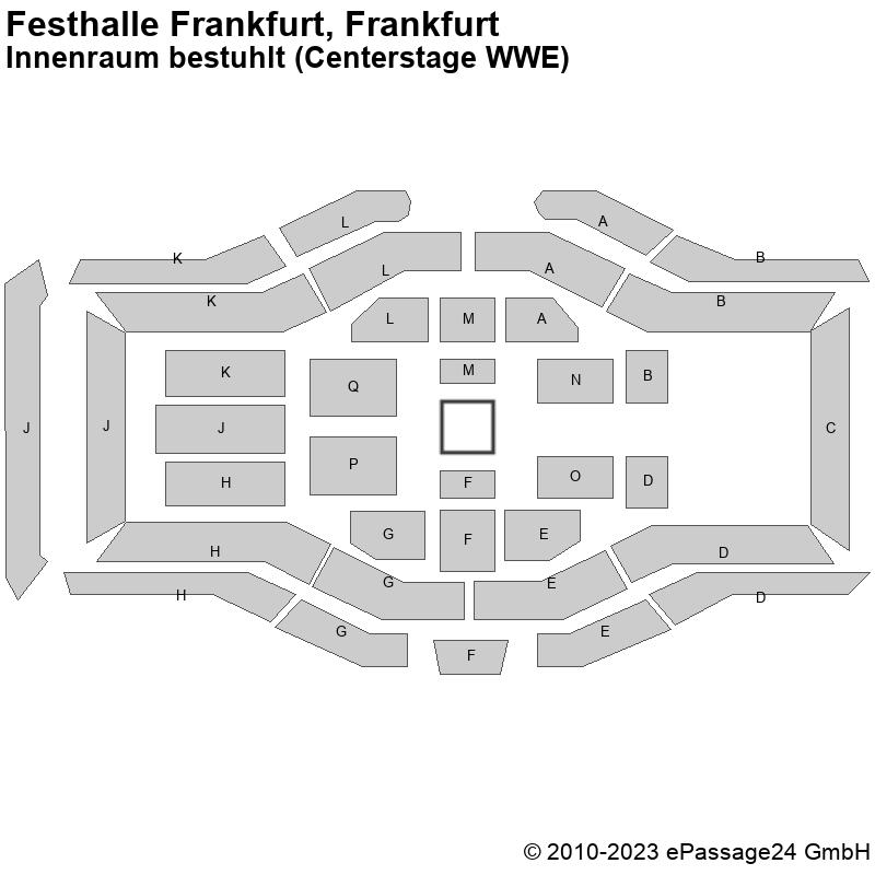 Saalplan Festhalle Frankfurt, Frankfurt, Deutschland, Innenraum bestuhlt (Centerstage WWE)
