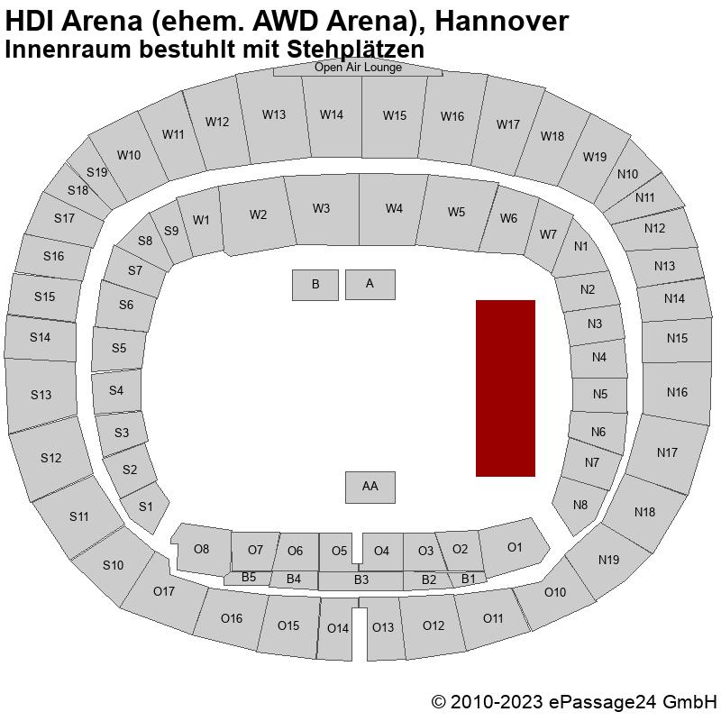 Saalplan HDI Arena (ehem. AWD Arena), Hannover, Deutschland, Innenraum bestuhlt mit Stehplätzen