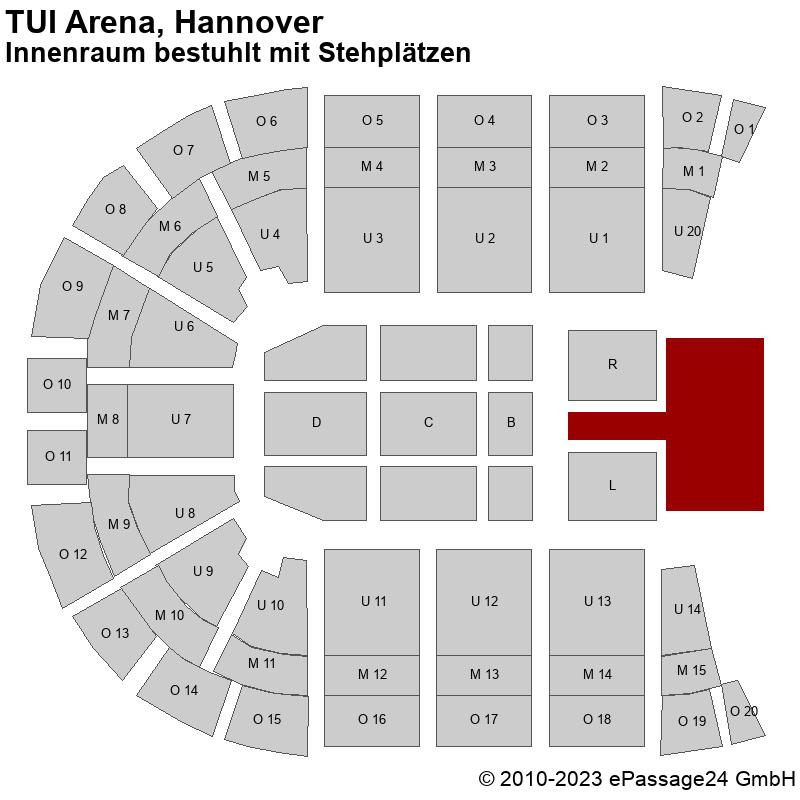 Saalplan TUI Arena, Hannover, Deutschland, Innenraum bestuhlt mit Stehplätzen