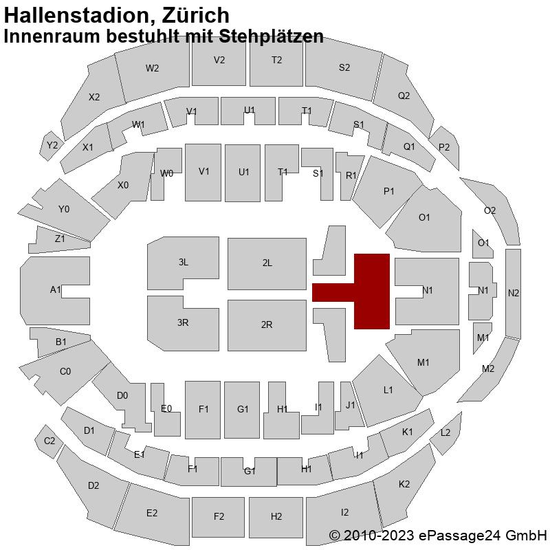Saalplan Hallenstadion, Zürich, Schweiz, Innenraum bestuhlt mit Stehplätzen