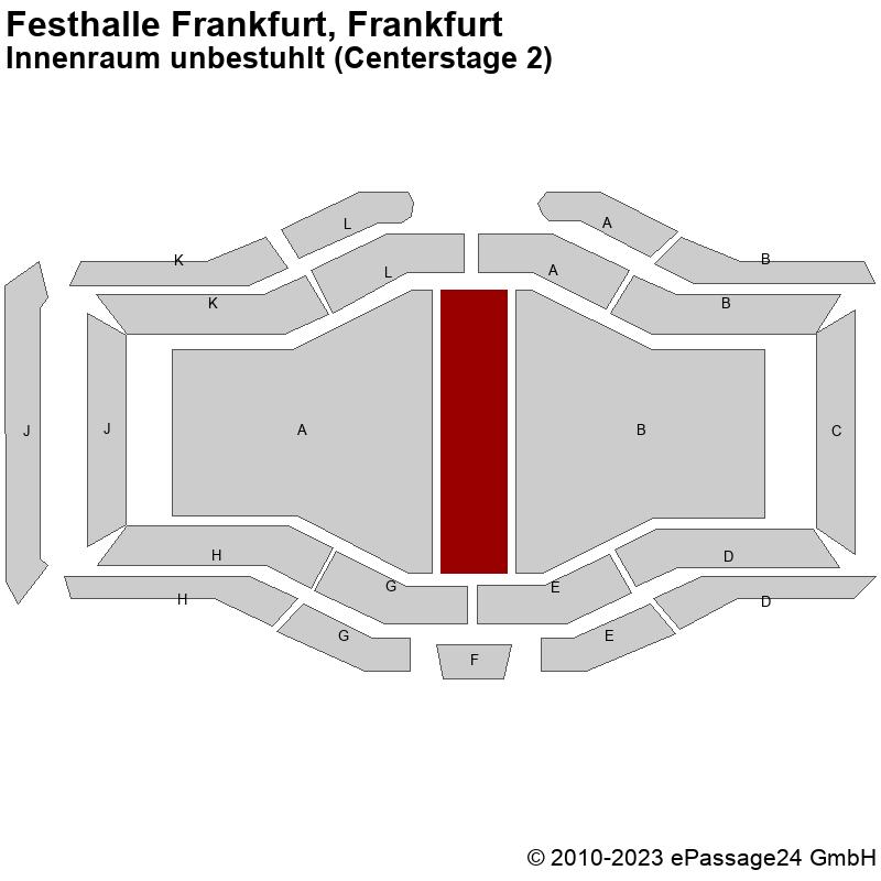 Saalplan Festhalle Frankfurt, Frankfurt, Deutschland, Innenraum unbestuhlt (Centerstage 2)