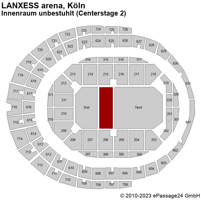 Saalplan LANXESS arena, Köln, Deutschland, Innenraum unbestuhlt (Centerstage 2)
