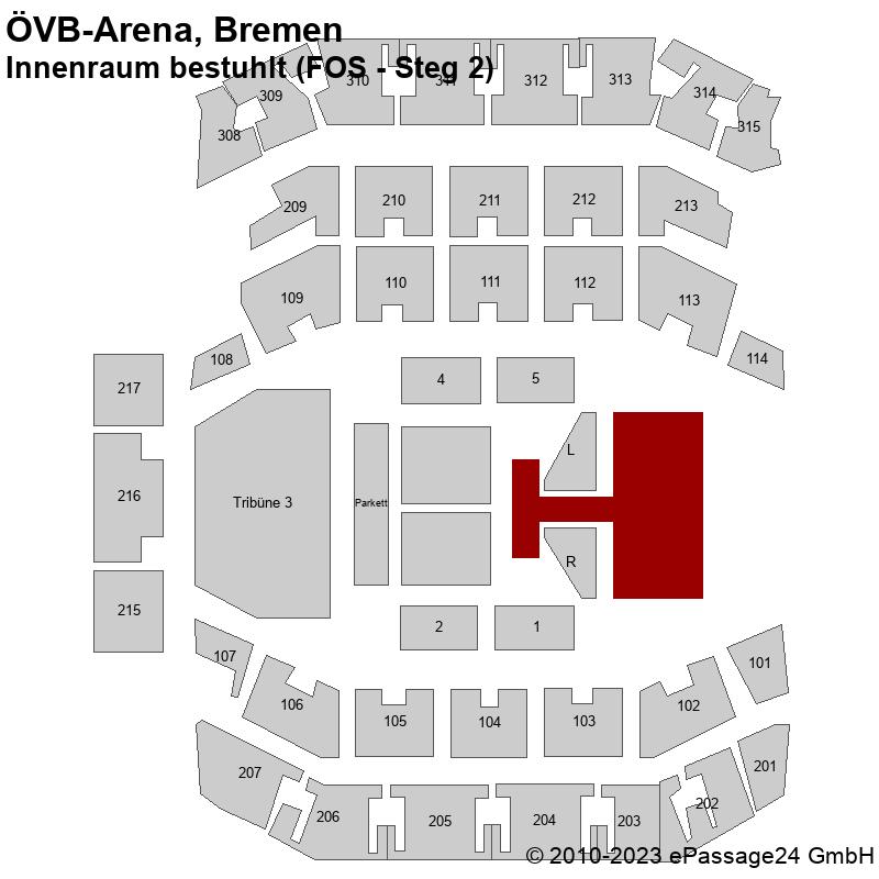 Saalplan ÖVB-Arena, Bremen, Deutschland, Innenraum bestuhlt (FOS - Steg 2)