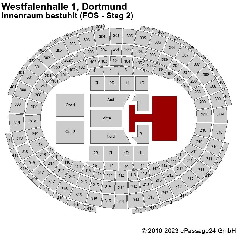 Saalplan Westfalenhalle 1, Dortmund, Deutschland, Innenraum bestuhlt (FOS - Steg 2)