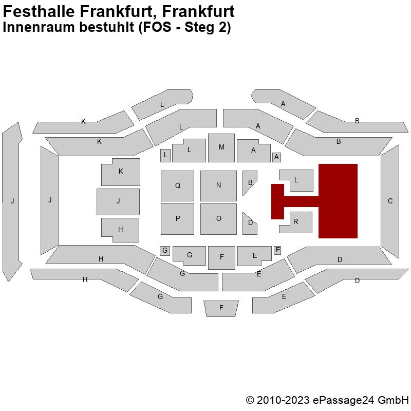 Saalplan Festhalle Frankfurt, Frankfurt, Deutschland, Innenraum bestuhlt (FOS - Steg 2)