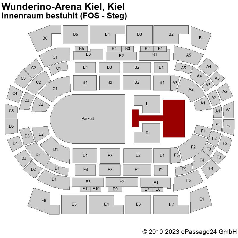 Saalplan Wunderino-Arena Kiel, Kiel, Deutschland, Innenraum bestuhlt (FOS - Steg)