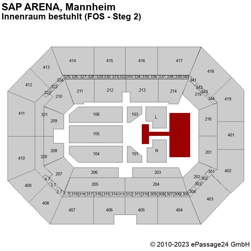 Saalplan SAP ARENA, Mannheim, Deutschland, Innenraum bestuhlt (FOS - Steg 2)
