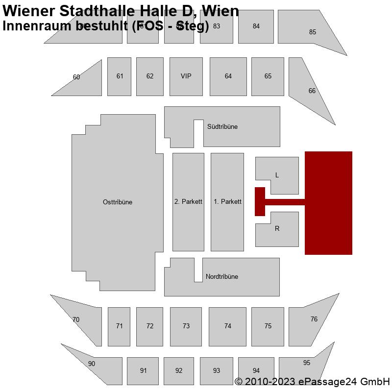 Saalplan Wiener Stadthalle Halle D, Wien, Österreich, Innenraum bestuhlt (FOS - Steg)