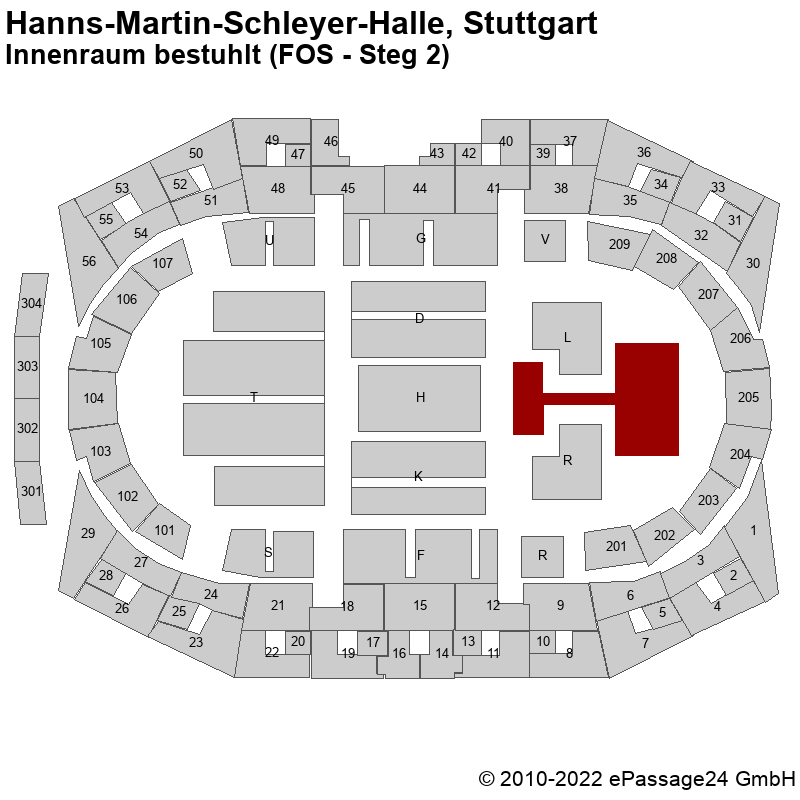 Saalplan Hanns-Martin-Schleyer-Halle, Stuttgart, Deutschland, Innenraum bestuhlt (FOS - Steg 2)