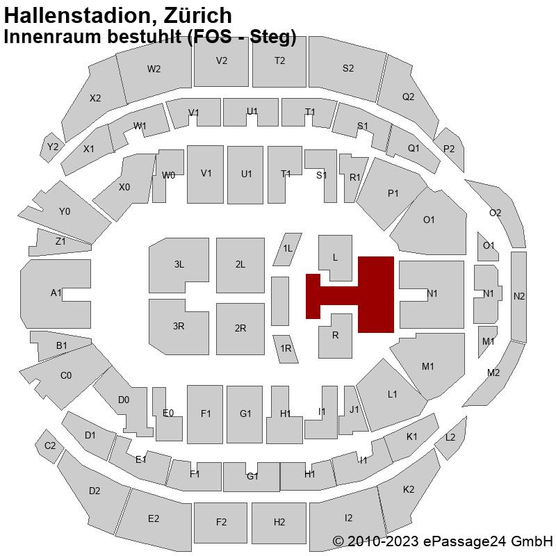 Saalplan Hallenstadion, Zürich, Schweiz, Innenraum bestuhlt (FOS - Steg)