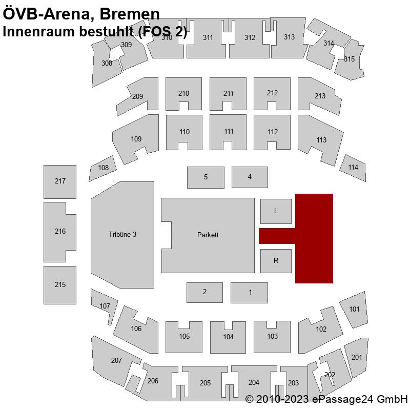 Saalplan ÖVB-Arena, Bremen, Deutschland, Innenraum bestuhlt (FOS 2)