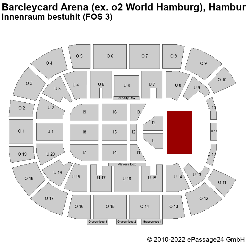 Saalplan Barcleycard Arena (ex. o2 World Hamburg), Hamburg, Deutschland, Innenraum bestuhlt (FOS 3)