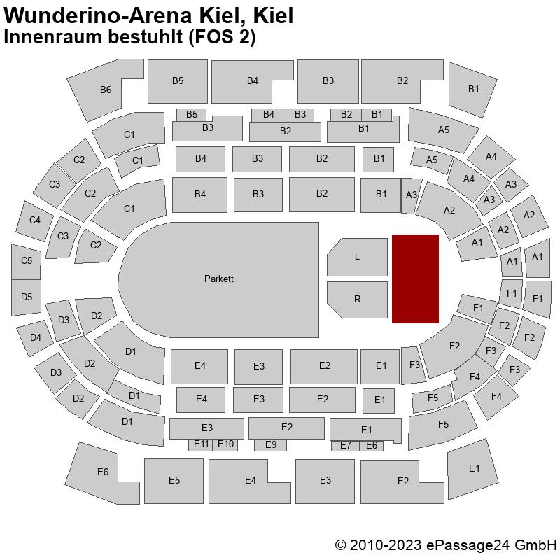 Saalplan Wunderino-Arena Kiel, Kiel, Deutschland, Innenraum bestuhlt (FOS 2)