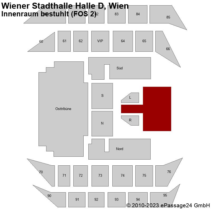 Saalplan Wiener Stadthalle Halle D, Wien, Österreich, Innenraum bestuhlt (FOS 2)