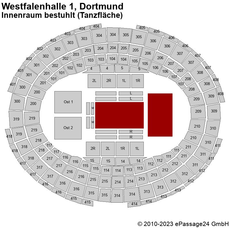 Saalplan Westfalenhalle 1, Dortmund, Deutschland, Innenraum bestuhlt (Tanzfläche)