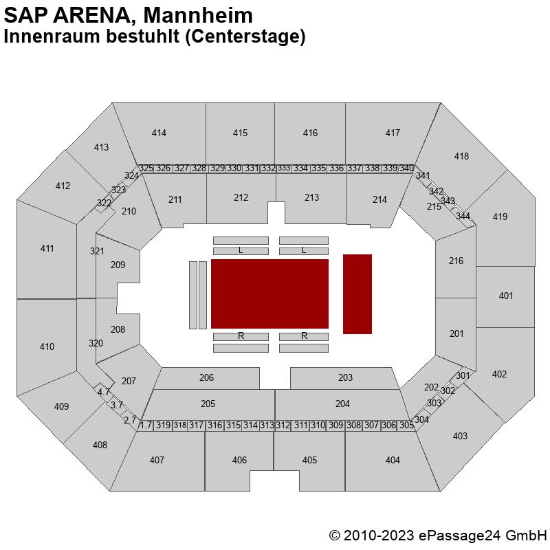 Saalplan SAP ARENA, Mannheim, Deutschland, Innenraum bestuhlt (Centerstage)