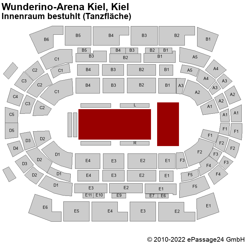 Saalplan Wunderino-Arena Kiel, Kiel, Deutschland, Innenraum bestuhlt (Tanzfläche)