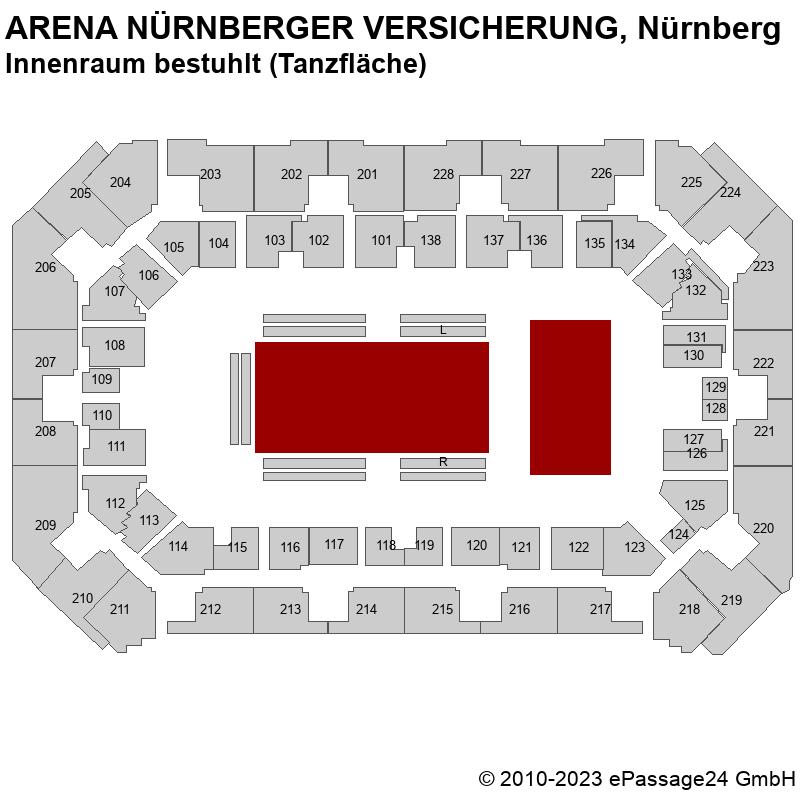Saalplan ARENA NÜRNBERGER VERSICHERUNG, Nürnberg, Deutschland, Innenraum bestuhlt (Tanzfläche)