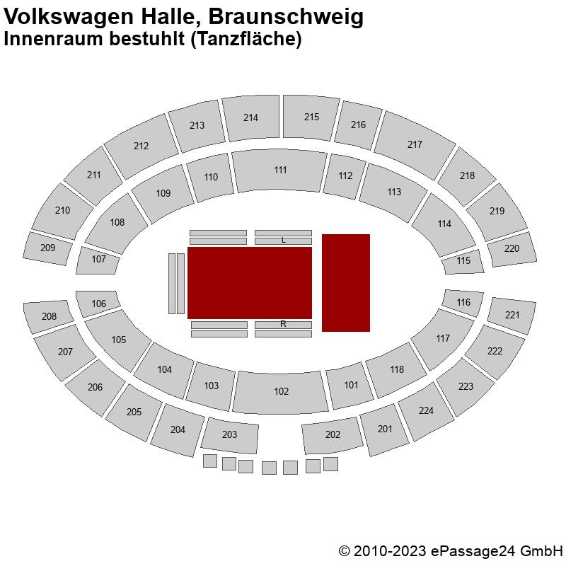 Saalplan Volkswagen Halle, Braunschweig, Deutschland, Innenraum bestuhlt (Tanzfläche)