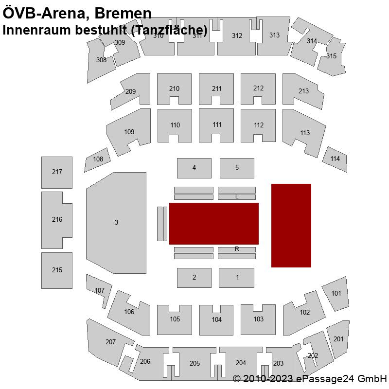 Saalplan ÖVB-Arena, Bremen, Deutschland, Innenraum bestuhlt (Tanzfläche)
