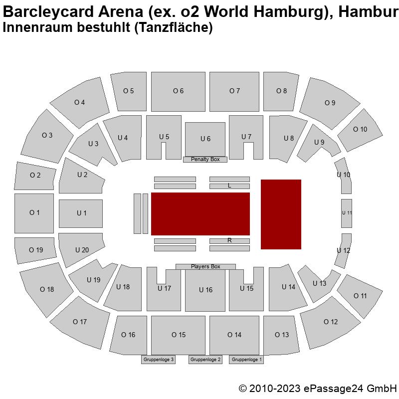 Saalplan Barcleycard Arena (ex. o2 World Hamburg), Hamburg, Deutschland, Innenraum bestuhlt (Tanzfläche)