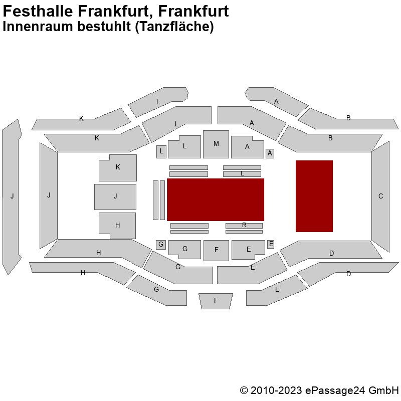 Saalplan Festhalle Frankfurt, Frankfurt, Deutschland, Innenraum bestuhlt (Tanzfläche)