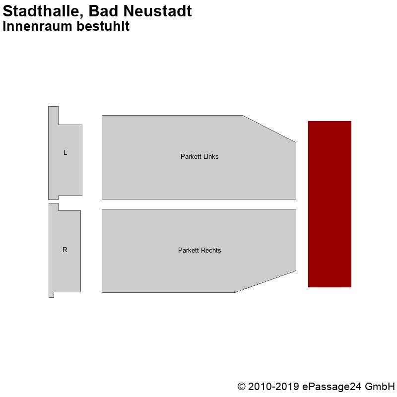 Saalplan Stadthalle, Bad Neustadt, Deutschland, Innenraum bestuhlt