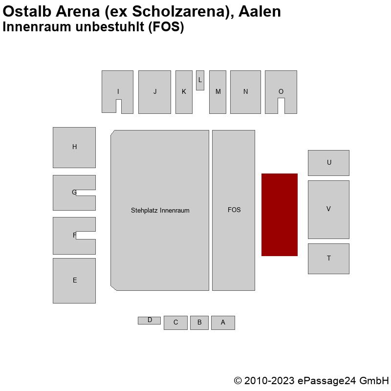Saalplan Ostalb Arena (ex Scholzarena), Aalen, Deutschland, Innenraum unbestuhlt (FOS)