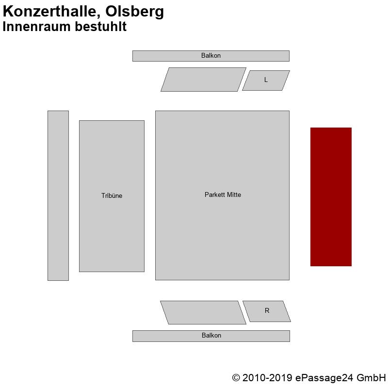 Saalplan Konzerthalle, Olsberg, Deutschland, Innenraum bestuhlt