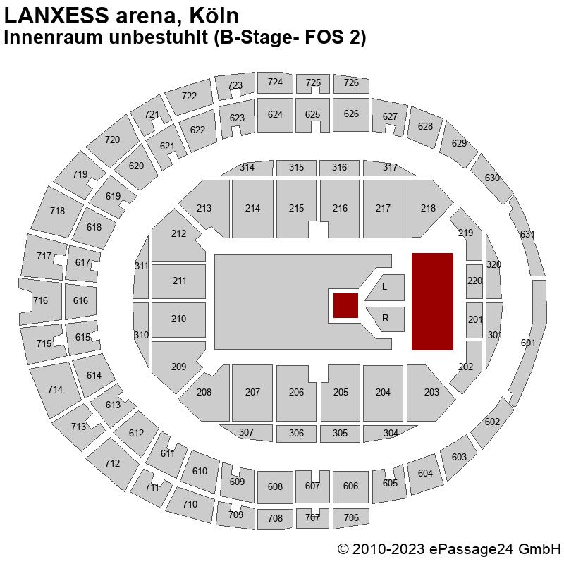 Saalplan LANXESS arena, Köln, Deutschland, Innenraum unbestuhlt (B-Stage- FOS 2)