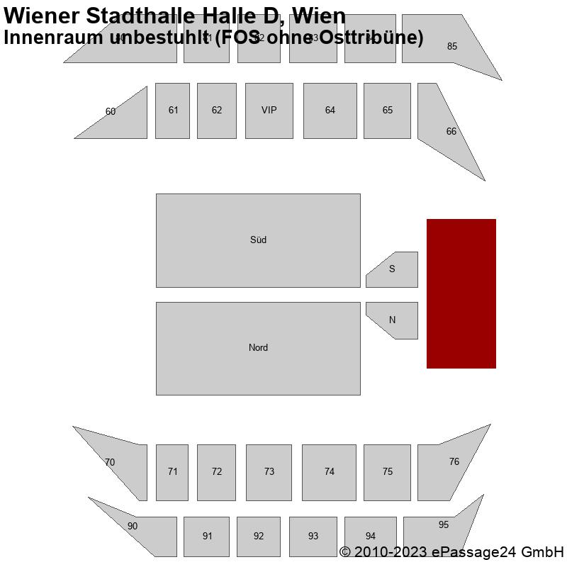Saalplan Wiener Stadthalle Halle D, Wien, Österreich, Innenraum unbestuhlt (FOS ohne Osttribüne)
