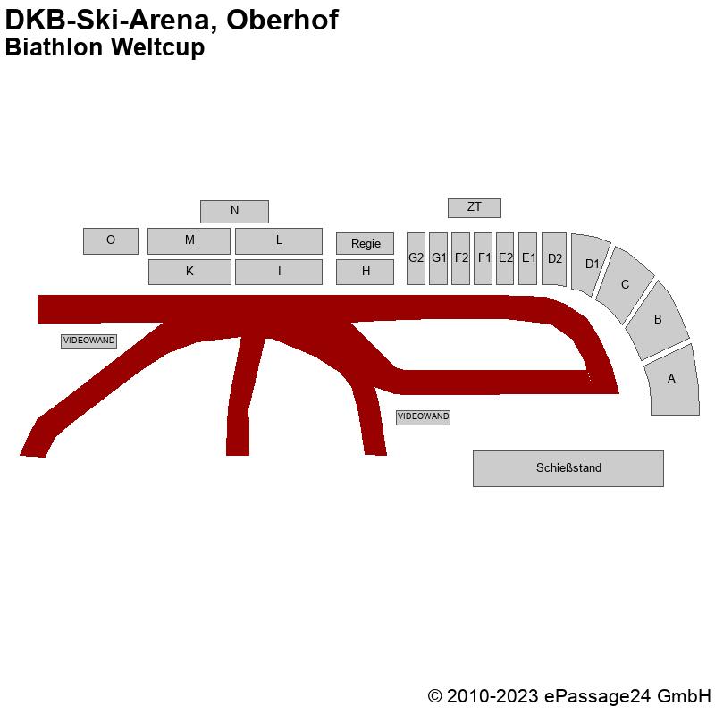 Saalplan DKB-Ski-Arena, Oberhof, Deutschland, Biathlon Weltcup