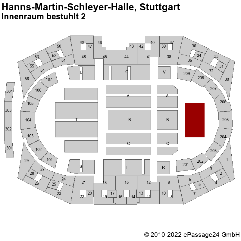 Saalplan Hanns-Martin-Schleyer-Halle, Stuttgart, Deutschland, Innenraum bestuhlt 2
