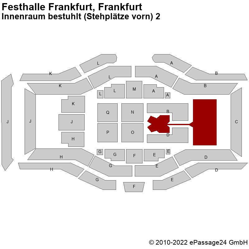 Saalplan Festhalle Frankfurt, Frankfurt, Deutschland, Innenraum bestuhlt (Stehplätze vorn) 2