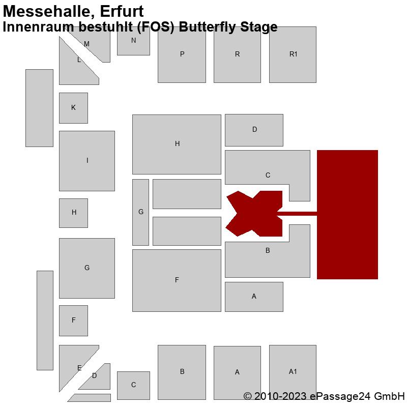 Saalplan Messehalle, Erfurt, Deutschland, Innenraum bestuhlt (FOS) Butterfly Stage