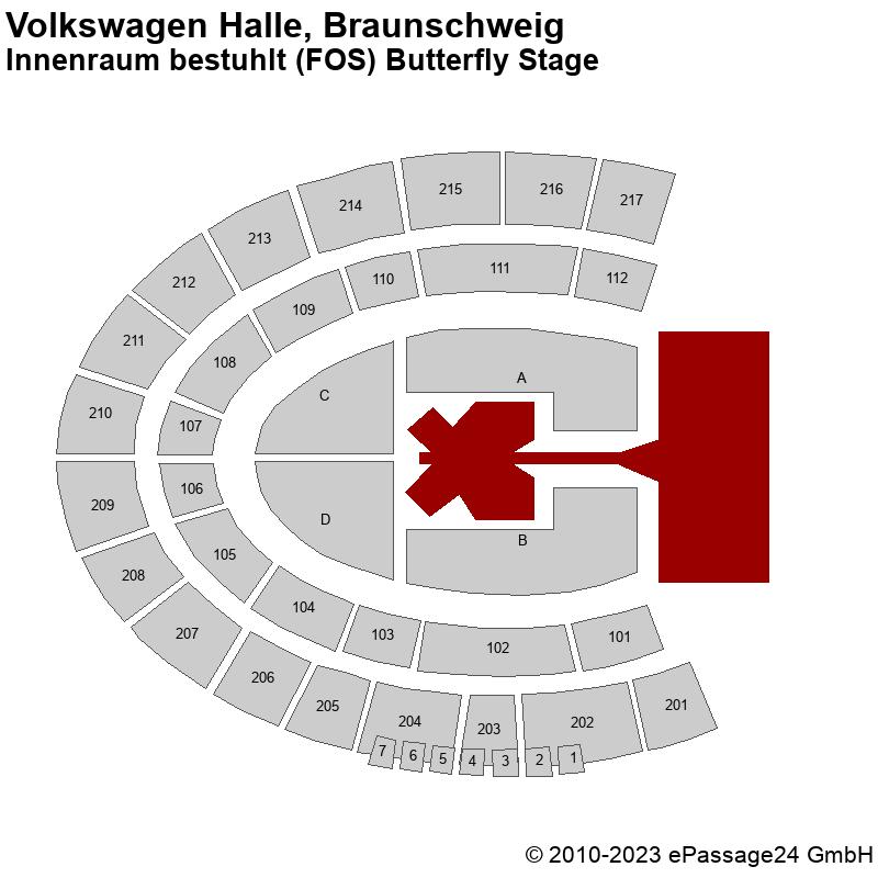 Saalplan Volkswagen Halle, Braunschweig, Deutschland, Innenraum bestuhlt (FOS) Butterfly Stage