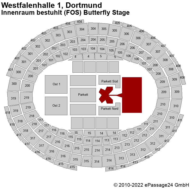 Saalplan Westfalenhalle 1, Dortmund, Deutschland, Innenraum bestuhlt (FOS) Butterfly Stage