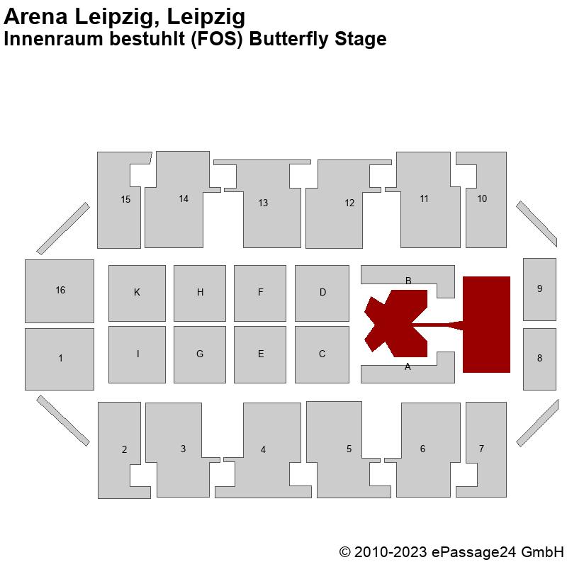 Saalplan Arena Leipzig, Leipzig, Deutschland, Innenraum bestuhlt (FOS) Butterfly Stage